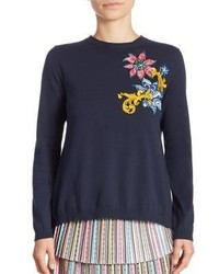 Mary Katrantzou Embroidered Split Back Cropped Sweater