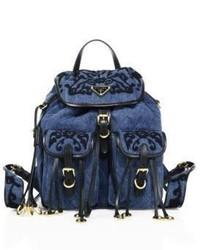 Prada Embroidered Denim Backpack