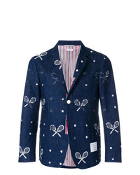 Thom Browne Unconstructed Classic Single Breasted Sport Coat With Placket In Washed Denim With Distressed Tennis Half Drop Embroidery