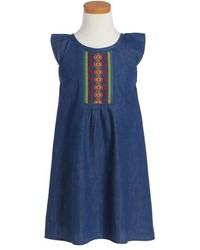 Roxy A La Noche Embroidered Denim Shift Dress
