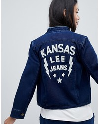 Lee Collarless Denim Jacket With Embroidered Detail