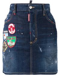 Dsquared2 Patch Applique Denim Mini Skirt