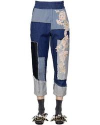 Antonio Marras Embroidered Patchwork Cotton Denim Pants