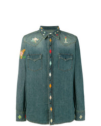 Saint Laurent Embroidered Denim Fitted Shirt