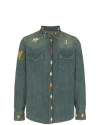 Saint Laurent Embroidered Denim Shirt