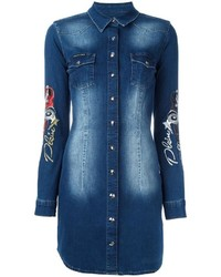 Philipp Plein Embroidered Denim Shirt Dress