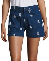 Stella McCartney High Waist Embroidered Denim Shorts