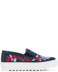 Salvatore Ferragamo Embroidered Denim Slip On Sneakers