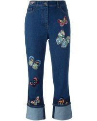 Navy Embroidered Jeans