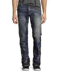 Robin's Jeans Embroidered Denim Straight Leg Jeans Dark Blue