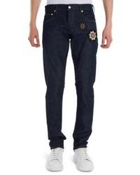 Alexander McQueen Medallion Polarlites Embroidered Stretch Jeans