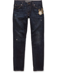 Dolce & Gabbana Slim Fit Embroidered Denim Jeans
