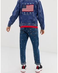 Tommy Jeans Us Flag Capsule All Over Flag Embroidery Regular Fit Dad Jean In Mid Wash