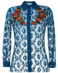 Gucci Floral Embroidered Sheer Lace Shirt