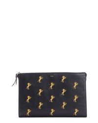 Chloé Embroidered Leather Zip Pouch