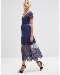 Embroidered mesh and lace midi dress medium 3757687