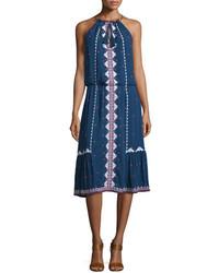 Navy Embroidered Midi Dress