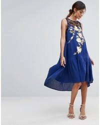 Premium embroidered casual drop waist midi dress medium 4420615