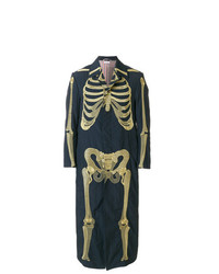 Thom Browne Gold Skeleton Embroidered Ankle Length Solid Enshuku Nylon Bal Collar Overcoat