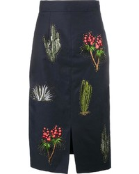 Stella McCartney Cactus Embroidered Pencil Skirt