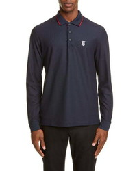 Burberry Embroidered Monogram Long Sleeve Pique Polo