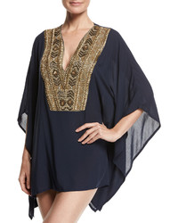 OndadeMar Abyssal Embroidered Poncho Blue Pattern