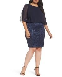 Alex Evenings Plus Size Sequin Embroidered Blouson Sheath Dress
