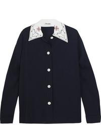 Miu Miu Embroidered Crepe Shirt Navy