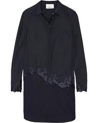 3.1 Phillip Lim Embroidered Cotton Poplin Shirt Dress Midnight Blue