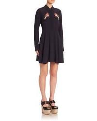Stella McCartney Embroidered Bird Silk Shirtdress