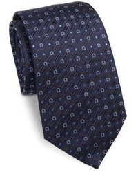 Salvatore Ferragamo Gancini Embroidered Silk Tie