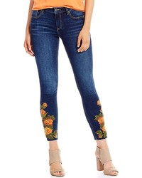 Miss Me Destructed Floral Embroidered Skinny Ankle Jeans