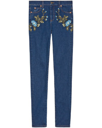 Gucci Embroidered Denim Flower Pants