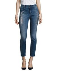 Stella McCartney Embroidered Sparkles High Waist Skinny Jeans
