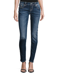 Miss Me Faded Embroidered Skinny Jeans Medium Blue