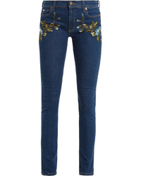 Gucci Floral Embroidered Mid Rise Skinny Leg Jeans