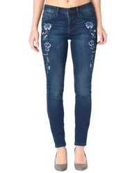 Nicole Miller New York Floral Embroidered High Rise Skinny Jeans