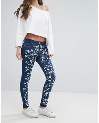 Parisian Floral Embroidered Skinny Jeans