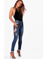 Boohoo Petite Caitlin Embroidered Dark Wash Skinny Jean