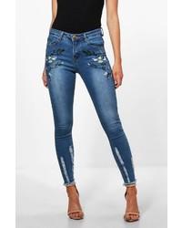 Boohoo Petite Maddie Embroidered Fray Hem Skinny Jean