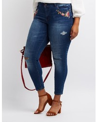 Charlotte Russe Plus Size Dollhouse Embroidered Skinny Jeans
