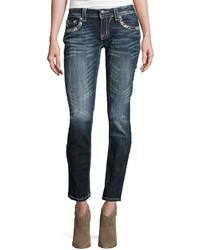 Miss Me Skinny Embroidered Denim Jeans Dark Wash 413