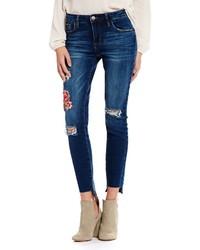 Sts Blue Emma Destructed Rose Embroidered Step Hem Skinny Jeans