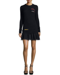 RED Valentino Ribbed Sweater Dress W Point Desprit Skirt Word Embroidery Navy