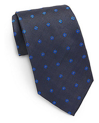 Saint laurent floral embroidered silk tie medium 112456