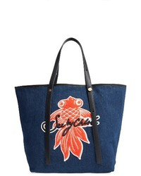 See by Chloe Applique Denim Tote Blue