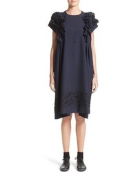 Comme des Garcons Tricot Floral Embroidered Wool Shift Dress