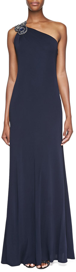David Meister Beaded One Shoulder Gown Navy | Where to buy & how to wear