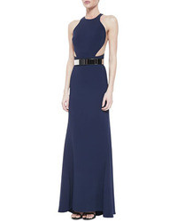 Stella McCartney Belted Mesh Inset Racerback Gown