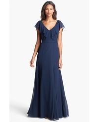 Jenny Yoo Cecilia Ruffled V Neck Chiffon Long Dress